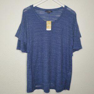 Suzanne Betro Blue Short Sleeve Blouse